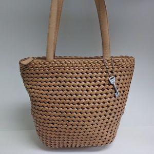 Vintage Fossil woven leather purse shoulder bag